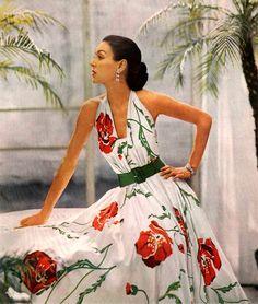 Enka Rayon, dress designed by Joseph Whitehead 1950 | What a beautiful dress!