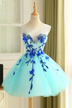Light Blue Prom Dresses,Short Homecoming Dresses,Tulle Homecoming Dress Flower Short Prom Dress #promdresses #homecomingdresses #flowerdresses #shortpromdresses #partydresses