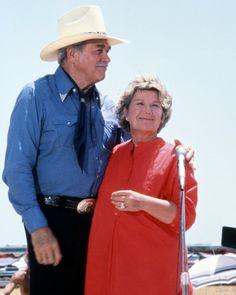 as Miss Ellie Ewing Farlow and Howard Keel as Clayton Farlow in Dallas