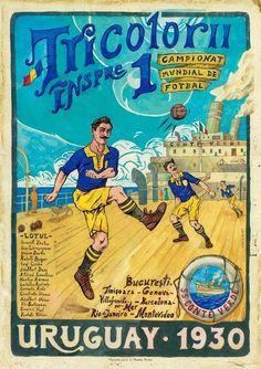 Retro Football, Football Design, Football Art, Football Program, Vintage Football, Montevideo, Retro Poster, Vintage Posters, 1930 Fifa World Cup