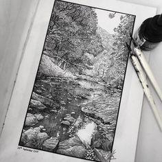 Ink Pen Art, Ink Pen Drawings, Landscape Drawings, Landscape Art, Pen Sketch, Art Sketches, Gravure Illustration, Stippling Art, Nature Sketch