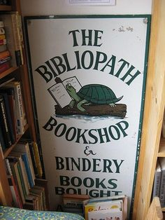 This sign was for the bookstore in Norfolk Va run by Linda and H.L. before they moved to upstate N.Y.  *** via brilliantvastworld