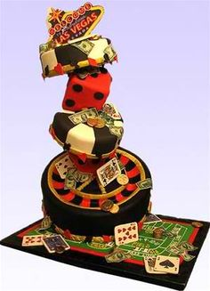 """""""Viva Las Vegas"""" Cake by Susan Carberry - At YummyArts, we closed our second annual """"Big Birthday Bash"""" with a Big Bang, and added this how-to video set to the YummyArts library for our members to view at any time."""