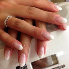 French ombre gel manicure done at Bella Vous Nails Spa by Annie Shellac Nails, Gel Manicure, Matte Nails, Mani Pedi, Pedicure, Glitter Acrylics, Glitter Nails, Bridal Nails, Wedding Nails