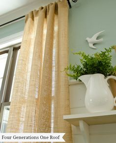 how to make curtains using burlap-- no sew $8 per panel