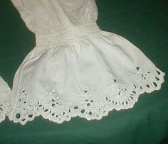 "Lovely 1860's Civil War Cotton Eyelet Under Sleeves | eBay seller fiddybee, trimmed with eyelet, 19"" length"
