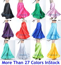 360 Full Circle Satin Long Skirt Swing Belly Dance Costumes Tribal S , M to 3XL #Unbranded