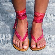 Handmade leather and silk chiffon ankle wrap by AlessiaSolari