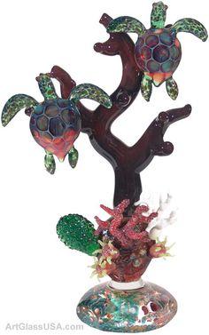 Jeremy Sinkus: Flameworked glass Turtle reef sculpture
