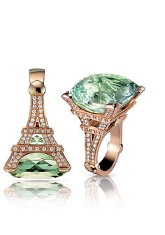 Pasquale Bruni Madame Eiffel Collection. Ring in pink gold with prasiolite and diamonds