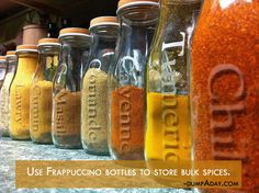 Use Frappuccino bottles etc. to share and/or store bulk spices.  Use that glass etching product to label them.