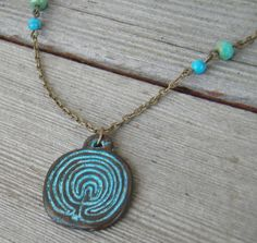 Labyrinth Maze:  #Labyrinth necklace.