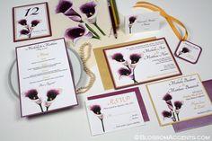 Pretty Dark Purple Picasso Lily Wedding Invitation Suite by http://blossomaccents.com