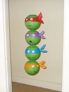 Mutant Ninja Turtles Inspired Paper Lanterns. Party Decorations, Baby Shower, Room Decor, nursery decor. Ninja Turtle Lantern