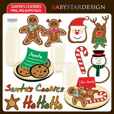 12 graphic elements of Santa's Cookies & Milk theme. Perfect for your craft projects, paper products, invitations, stationery, scrapbooking, web designs, stickers and many more!
