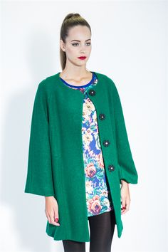GREEN LANTERN JACKET - Vintage swing lines in a new warm coat from Trelise Cooper. On sale, good size range still available. Room for full skirts. New Zealand Winter, Full Skirts, Warm Coat, Green Jacket, Modern Fashion, Style Icons, Lanterns, Kimono Top, Glamour