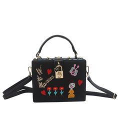 (28.99$)  Buy here - http://aiylh.worlditems.win/all/product.php?id=32682709988 - Black Embroidery Handbag Famou Bran Padlock Messenger Box Cute Cartoon Shoulder Bag Fashion Hand Bag Evening Party Clutch XA612H
