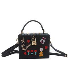 (28.99$)  Buy here - http://aiylh.worlditems.win/all/product.php?id=32682709988 - Black Embroidery Handbag Famou Bran Padlock Messenger Box Cute Cartoon Shoulder Bag Fashion Hand Bag Evening Party Clutch XA612H