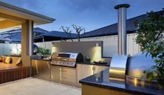 85 Best Outdoor Kitchen and Grill Ideas for Summer Backyard Barbeque Outdoor Areas, Outdoor Rooms, Outdoor Living, Outdoor Decor, Modern Outdoor Kitchen, Outdoor Kitchen Cabinets, Outdoor Kitchens, Modern Backyard, Kitchen Sink