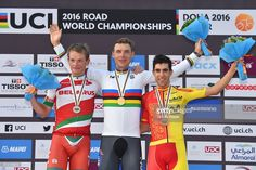 89th Road World Championships 2016 / Men Elite ITT Podium / Vasil KIRYIENKA (BLR) Siver Medal / Tony MARTIN (GER) Gold Medal/ Jonathan CASTROVIEJO NICOLAS (ESP) Bronze Medal/ Celebration / Lusail Sports Complex - The Pearl Qatar (40km)/ Individual Time Trial / WC /