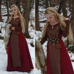 Image of Dark red apron dress Source by carmensteinoche Red Dresses Viking Garb, Viking Dress, Medieval Dress, Viking Reenactment, Celtic Clothing, Medieval Clothing, Historical Clothing, Historical Photos, Red Apron