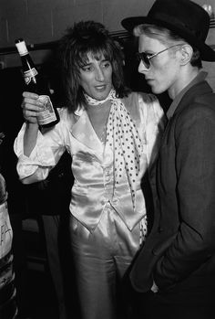 Rod Stewart and David Bowie backstage at Madison Square Garden in 1975.