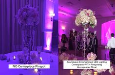 CENTERPIECE PINSPOTTING IS A MUST!!! The picture says it all!  LED lighting design by Soundwave Entertainment, djsoundwave.net, Orlando