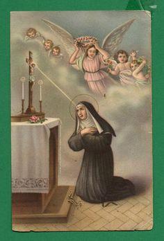 St Rita of Cascia Stigmata Angels Vtge DAT 1957 Holy Card Postcard