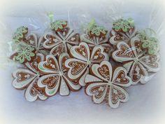 čtyřlístek pro štěstí  - perník No Bake Cookies, Cupcake Cookies, Sugar Cookies, Cupcakes, Cookie Company, Valentine Cookies, Cookie Decorating, Gingerbread, Baking