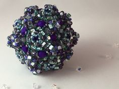 Purple Aqua Mermaid Orb / Beaded Bead / Ornament by RoyalJDesigns on Etsy