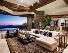Contemporary Neutral Great Room with Expansive Views
