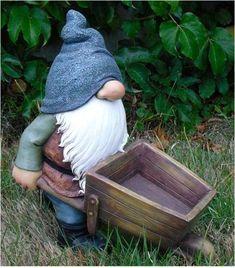 Polyresin Gnome with A Wheelbarrow Statue #ad