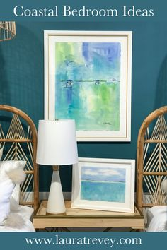 Coastal Bedroom Colors and Ideas - Modern Beach watercolor paintings and decor