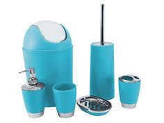 Buy soap pump toothbrush holder soap dish tumbler for Turquoise bathroom bin