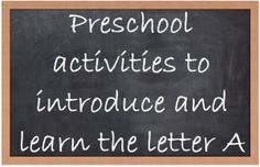Preschool Activities: Learn the Letter A