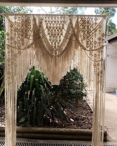Well this has kept me busy the past week but finally finished and getting picked up today so a quick pic before she goes. Macrame Wall Hanging Diy, Macrame Curtain, Macrame Art, Macrame Projects, Macrame Knots, Macrame Tutorial, Macrame Patterns, Boho Decor, Backdrops