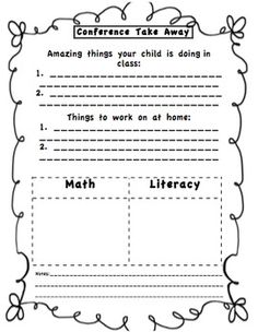 maybe not this exact form but something for parents to write on because many write little notes on the kids' schedules and much could be missed.