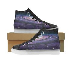 Spiral Galaxy in Deep Space Custom Light Up Shoes for Men. Spiral Galaxy, Light Up Shoes, Custom Lighting, Deep Space, Converse Chuck Taylor, Men's Shoes, High Top Sneakers, Model, Lights