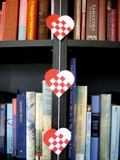 Danish Woven Heart Christmas Garland or Nordic Scandinavian Traditional Paper Julehjerter Decoration