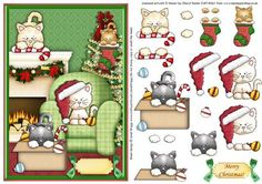 Playful Christmas Kitties Topper   Decoupage on Craftsuprint designed by Janet…