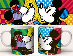 Mickey Mouse - The Love Mug - Romero Britto Disney Pop Art, Disney Cups, Britto Disney, Cartoon Wallpaper, Iphone Wallpaper, Graffiti Painting, Disney Jokes, Mickey Minnie Mouse, Disney Mickey