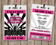 Personalised Disco VIP Lanyard Invitations x 10