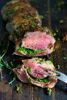 Herb-crusted leg of lamb with mint gremolata