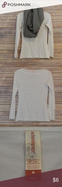 {No Boundaries} White Long sleeve Shirt Great basic white boat neck shirt for fall and winter. Pair with a cozy sweater or a cute scarf. No visible signs of wear. Scarf not included. No Boundaries Tops Tees - Long Sleeve
