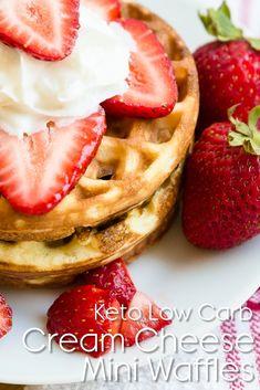 Keto Cream Cheese Mini Chaffle Waffles - Keto Diet Tips Keto Friendly Desserts, Low Carb Desserts, Low Carb Recipes, Bread Recipes, Low Carb Breakfast, Breakfast Dessert, Breakfast Ideas, Breakfast Recipes, Keto Foods