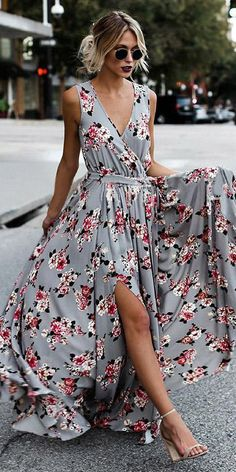 Awesome Split side floral boho dress for sexy bridesmaids by oshopolive. Split side floral boho dress for sexy bridesmaids by oshopolive. Short Beach Dresses, Sexy Dresses, Cute Dresses, Summer Dresses, Floral Dresses, Long Dresses, Casual Dresses, Boho Floral Maxi Dress, Boho Gown