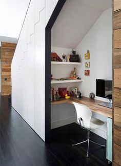 This desk tucked under the stairs features a wrap around desk, two wall mounted shelves, and a small filing cabinet - all the essentials you need for a functional home office. - 10 Small Home Office Ideas - Home Office Design, Home Office Decor, House Design, Home Decor, Office Ideas, Office Designs, Workspace Design, Office Furniture, Bureau Design