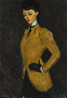 """Modigliani's """"Amazone,"""" a 1909 portrait of the glamorous socialite Marguerite de Hasse de Villers. Signed Modigliani (lower left) Oil on canvas 36 1/4 by 25 3/4 in. 92 by 65.6 cm Painted in 1909. Sotheby's"""