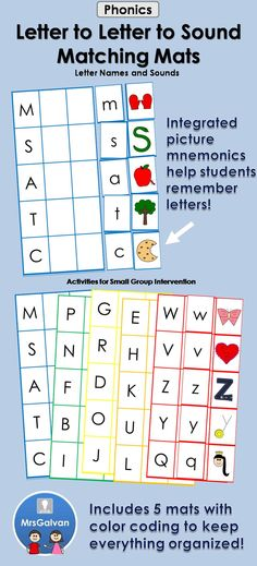 The Letter to Letter to Sound Matching Mats are a great way for children to learn uppercase letters, lowercase letters, and letter sounds. The most useful letters are introduced first, so children can learn to read quickly. Color coding on each mat helps cards stay organized. This is an instant independent literacy center activity.
