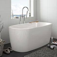 Hafa Sun Round badkar. Designat fristående badkar i sanitetsakryl med mjuka runda former. Den skarvfria ytan gör karet lättstädat och det har en mjukhet som känns skönt mot huden.